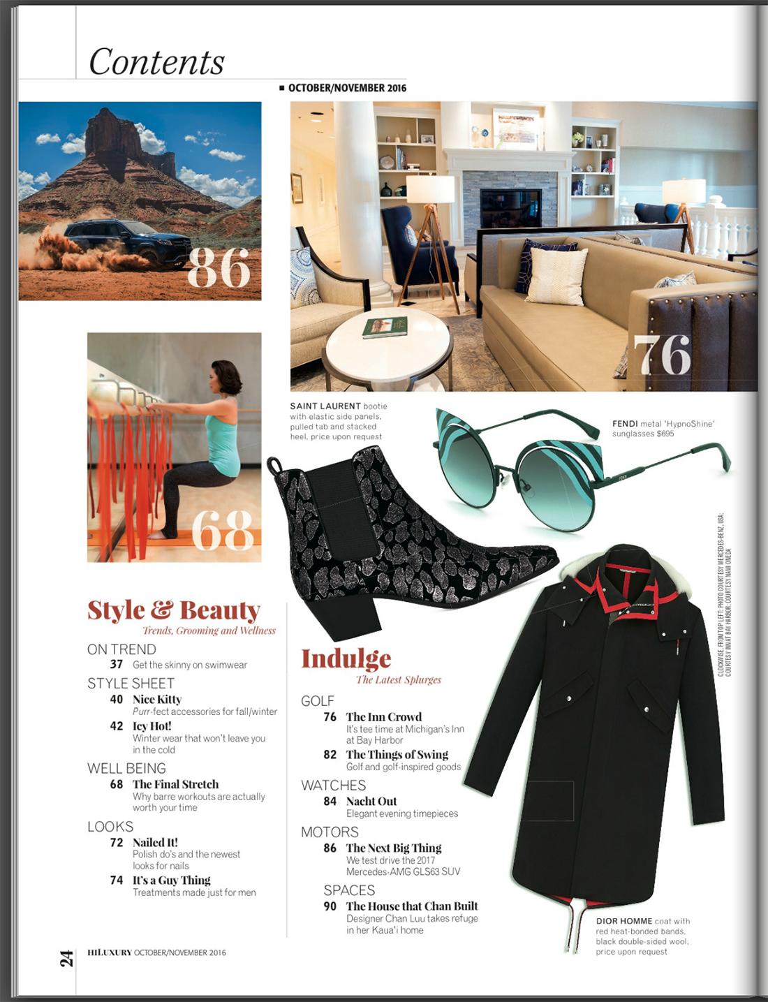 Hawaii Luxury Magazine, Index Page